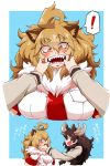 ! >:d 2girls 2koma :d ahoge animal_ears antlers blonde_hair breast_pocket brown_eyes brown_hair comic commentary_request elbow_gloves extra_ears eye_contact eyebrows_visible_through_hair finger_in_another's_mouth fur_collar gloves hair_between_eyes hands_up highres kemono_friends lion_(kemono_friends) lion_ears long_hair looking_at_another millipen_(medium) moose_(kemono_friends) moose_ears multiple_girls necktie open_mouth orange_hair pocket red_necktie scarf sharp_teeth shirt short_sleeves slit_pupils smile spoken_exclamation_mark standing sweater teeth traditional_media translation_request upper_body warawaranka