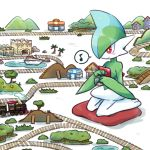 drawfag gallade kneeling musical_note pokemon pokemon_(creature) pokemon_center red_eyes smile solo toy_boat toy_train