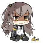 anger_vein angry brown_hair chibi girls_frontline jacket knee_pads lowres onion pelican_(s030) scar scar_across_eye shaded_face shirt sitting skirt ump45_(girls_frontline) wariza white_shirt yellow_eyes