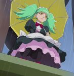 1girl biburi_(precure) black_legwear black_skirt frilled_hairband frown gothic_lolita green_hair haruyama_kazunori kirakira_precure_a_la_mode lolita_fashion pantyhose precure rain short_hair skirt solo squatting twintails umbrella yellow_eyes