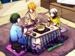 3boys chopsticks cup hair_over_one_eye hakama hood hoodie hotpot idolmaster idolmaster_side-m indoors japanese_clothes kitamura_sora kiyosumi_kurou kotatsu mug multiple_boys nemurakko pillow plate seiza shosei sitting table television tsukumo_kazuki
