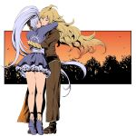 2girls blonde_hair commentary forest highres hug long_hair multiple_girls nature rwby sunset ume_(yume_uta_da) weiss_schnee white_hair yang_xiao_long