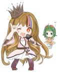 2girls :t ;d blonde_hair blue_hair blush brown_hair chibi clenched_hands crown galaco goggles goggles_on_head green_eyes green_hair gumi highres long_hair microphone multicolored_hair multiple_girls n03+ no3+ one_eye_closed open_mouth orange_eyes pink_hair pose smile star streaked_hair very_long_hair vocaloid