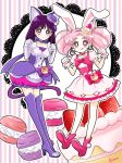 2girls :q animal_ears bishoujo_senshi_sailor_moon boots bow bubble_skirt cake_hair_ornament cat_ears chibi_usa choker color_connection cosplay cure_macaron cure_macaron_(cosplay) cure_whip cure_whip_(cosplay) double_bun dress earrings elbow_gloves extra_ears food food_themed_hair_ornament fruit gloves hair_ornament jewelry kirakira_precure_a_la_mode looking_at_viewer macaron macaron_hair_ornament multiple_girls paw_pose pink_bow pink_eyes pink_footwear pink_hair pink_neckwear precure purple_footwear purple_hair purple_neckwear purple_skirt rabbit_ears ribbon_choker sarashina_kau shoes short_hair skirt smile strawberry strawberry_shortcake thigh-highs thigh_boots tomoe_hotaru tongue tongue_out twintails violet_eyes white_dress white_gloves