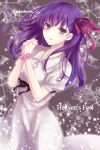 1girl copyright_name cowboy_shot dress eyebrows_visible_through_hair fate/stay_night fate_(series) grey_dress hair_ribbon hands_clasped heaven's_feel highres interlocked_fingers looking_at_viewer matou_sakura own_hands_together parted_lips pink_ribbon puffy_short_sleeves puffy_sleeves purple_hair ribbon short_sleeves smile solo standing tanaji violet_eyes