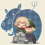 2girls blonde_hair brown_hair caterpillar_tracks chibi closed_eyes erwin_(girls_und_panzer) fang girls_und_panzer ground_vehicle hat hippopotamus katyusha long_sleeves looking_at_viewer military military_jacket military_uniform military_vehicle motor_vehicle multiple_girls ooarai_school_uniform open_mouth plaid pravda_military_uniform pravda_school_uniform sankuma short_hair sparkling_eyes tank uniform vehicle_request