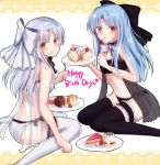 2girls :q ass bangs black_bra black_legwear black_panties blue_hair bow bowtie bra cake choker eating english eyebrows_visible_through_hair feet_out_of_frame food fork from_side fruit happy_birthday highres holding holding_plate knees_together_feet_apart len long_hair looking_at_viewer looking_back melty_blood multiple_girls navel panties plate pointy_ears red_eyes ribbon silver_hair sitting smile strawberry tanaji thigh-highs tongue tongue_out tsukihime underwear underwear_only wariza white_bra white_legwear white_len white_panties