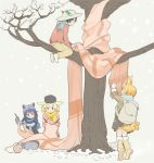 4girls :d alternate_costume animal_ears backpack bag blonde_hair bucket_hat commentary common_raccoon_(kemono_friends) fang fennec_(kemono_friends) fox_ears fur_trim green_hair grey_hair hat hat_feather highres in_tree kaban_(kemono_friends) kasa_list kemono_friends kneeling knitting knitting_needle multicolored_hair multiple_girls needle open_mouth oversized_object pants raccoon_ears scarf serval_(kemono_friends) serval_ears serval_tail short_hair sitting sitting_in_tree skirt smile tail tiptoes tree v-shaped_eyebrows winter_clothes yarn_ball