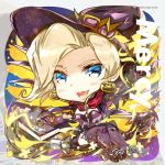 1girl alternate_costume blonde_hair blue_eyes book breasts broom broom_riding chibi cleavage earrings elbow_gloves gloves halloween halloween_costume hat heco_(mama) jewelry looking_at_viewer mechanical_wings mercy_(overwatch) overwatch solo thigh-highs wings witch witch_hat witch_mercy
