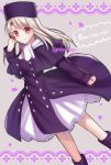 1girl boots closed_mouth coat copyright_name dutch_angle eyebrows_visible_through_hair fate/stay_night fate_(series) feet_out_of_frame frilled_skirt frills hat highres illyasviel_von_einzbern legs_apart long_hair long_sleeves looking_at_viewer purple_coat purple_footwear red_eyes scarf silver_hair skirt smile solo standing tanaji twitter_username white_scarf white_skirt