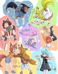 >_< >_o 6+girls =_= absurdres all_fours angry animal_ears bandaid bandaid_on_knee bangs barefoot_sandals bell belt_collar blue_dress blue_footwear blue_hair blue_legwear blue_shorts blush bow brown_hair cat_ears cat_paws cat_tail closed_mouth collar colorful commentary_request dark_skin dog_ears dog_girl dog_tail doitsuken dress drying ear_ribbon eyebrows_visible_through_hair fang fangs fox_girl frilled_dress frills glasses green_shirt highres jingle_bell leash lifting_person long_hair long_sleeves looking_at_viewer looking_away multiple_girls navel no_shoes no_socks one_eye_closed orange_eyes orange_shirt outstretched_arms pants pantyhose parted_lips paws pink_pants pulling red_eyes red_ribbon red_shorts redhead ribbon sandals shaking sharp_teeth shirt shoes short_eyebrows short_hair short_sleeves shorts shouting slit_pupils socks squatting standing standing_on_one_leg stretch stuck tail tail_bell tail_ribbon tears teeth thick_eyebrows translation_request upside-down white_dress white_legwear yawning