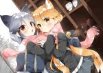 2girls animal_ears bag bag_charm bangs black_jacket blonde_hair blush brown_eyes carrying_bag carrying_over_shoulder cat_ears charm_(object) closed_mouth commentary_request eyebrows_visible_through_hair ezo_red_fox_(kemono_friends) gau_(n00_shi) grey_hair hair_between_eyes jacket kemono_friends long_hair long_sleeves looking_at_viewer multiple_girls open_mouth pink_scarf pleated_skirt scarf school_bag school_uniform shoe_lockers silver_fox_(kemono_friends) skirt standing winter yellow_eyes