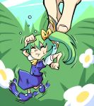 1girl :t arm_up blush bow chibi clenched_hands closed_eyes daiyousei eyebrows_visible_through_hair fairy_wings flower flying_sweatdrops full_body green_hair hair_between_eyes hair_bow irony minigirl motion_lines puffy_short_sleeves puffy_sleeves restrained setz shoes short_hair short_sleeves side_ponytail skirt skirt_set solo solo_focus sweatdrop touhou wings