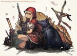 1girl black_footwear black_gloves boots chains cloak cross english frilled_shirt frills gloves gun highres hood hooded_cloak isaroishin little_red_riding_hood little_red_riding_hood_(grimm) one_knee original puffy_short_sleeves puffy_sleeves red_hood red_skirt ruins shell_casing shirt short_sleeves skirt star teeth weapon wolf