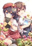 1boy 1girl black_hair blue_eyes brown_eyes brown_hair character_request flower niwasane_(saneatsu03) school_uniform sketchbook tablet_pc