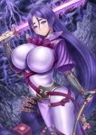 1girl bodysuit breasts cleavage fate/grand_order fate_(series) highres large_breasts long_hair looking_at_viewer masatoki minamoto_no_raikou_(fate/grand_order) navel purple_hair smile solo sword thunder very_long_hair violet_eyes weapon