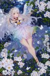 1girl absurdres angel_wings bare_shoulders barefoot blush breasts cleavage commission eyebrows_visible_through_hair flower full_body highres kimpeul long_hair looking_at_viewer lying medium_breasts on_back open_mouth original red_eyes smile solo water white_hair wings