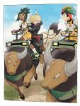 3boys black_hair blonde_hair dark_skin dark_skinned_male gladio_(pokemon) green_eyes green_hair hair_over_one_eye hau_(pokemon) helmet highres hood hoodie multiple_boys open_mouth pants pokemon pokemon_(creature) pokemon_(game) pokemon_sm riding short_hair smile sweatdrop tauros torn_clothes you_(pokemon_sm) yukin_(es)