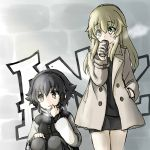 2girls bangs black_coat black_dress black_hair black_pants blonde_hair braid breath brown_eyes can carpaccio casual commentary_request dress eyebrows_visible_through_hair girls_und_panzer green_eyes hand_in_pocket highres holding long_hair long_sleeves looking_at_another looking_to_the_side multiple_girls pants pepperoni_(girls_und_panzer) short_hair side_braid sitting sketch soda_can standing wabiushi white_coat