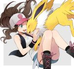1girl baseball_cap blue_eyes boots brown_hair denim denim_shorts hat jolteon long_hair one_eye_closed pokemon pokemon_(creature) pokemon_(game) pokemon_bw ponytail shorts smile touko_(pokemon) yukin_(es)