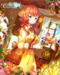 1girl bag bangs blue_eyes blue_sky blush brown_hair closed_mouth copyright_name day dress dutch_angle flower flower_request from_side holding holding_flower indoors long_hair long_sleeves looking_at_viewer miemia puffy_long_sleeves puffy_sleeves rose shoulder_bag sky standing sunlight tenkuu_no_crystalia window yellow_dress