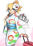 1girl alternate_costume alternate_hairstyle blonde_hair blue_eyes boo d-ryuu earrings fire_flower food ghost japanese_clothes jewelry kimono looking_at_viewer mario_(series) mask mask_on_head nintendo nintendo_ead parted_lips princess princess_peach super_mario_bros. super_mario_odyssey tiara tiara_(mario) upper_body