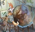 1boy 1girl :d animal_ears bangs belt black_gloves bucket doitsuken energy_drink fang fox fox_ears furry globe gloves highres holding indoors lantern long_hair map open_mouth orange_eyes orange_hair original paint paint_can pointing prehensile_tail red_eyes rope scroll shirt shoes shorts sitting smile sneakers standing stool t-shirt white_shirt