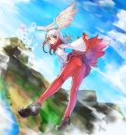 1girl ass bangs blunt_bangs blush breasts clouds flying fur_trim gradient_hair head_wings japanese_crested_ibis_(kemono_friends) kemono_friends loafers long_hair looking_at_viewer mhg_(hellma) mountain multicolored_hair outdoors pantyhose pleated_skirt red_legwear redhead shoes skirt sleeves_past_wrists solo two-tone_hair white_hair yellow_eyes
