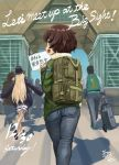 1girl abazu-red akiyama_yukari backpack bag bangs casual commentary_request crowd cursive dated day denim emblem english from_behind girls_und_panzer green_jacket highres holding jacket jeans long_sleeves looking_at_viewer looking_back military notebook ooarai_(emblem) open_mouth outdoors pants shadow short_hair smile standing tokyo_big_sight walking