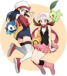 2girls beanie blue_hair boots brown_hair chikorita cosplay costume_switch hat highres hikari_(pokemon) hikari_(pokemon)_(cosplay) kotone_(pokemon) kotone_(pokemon)_(cosplay) kouki_(pokemon) long_hair multiple_girls open_mouth overalls pink_footwear piplup pokemon pokemon_(creature) pokemon_(game) pokemon_dppt pokemon_hgss ribbon scarf skirt thigh-highs yukin_(es)