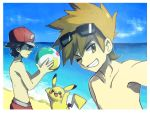 2boys ball baseball_cap beach beachball black_hair expressionless eyewear_on_head hat male_swimwear multiple_boys ocean one_eye_closed ookido_green ookido_green_(sm) orange_hair pikachu pokemon pokemon_(game) pokemon_rgby pokemon_sm red_(pokemon) red_(pokemon)_(remake) short_hair smile sunglasses swim_trunks yoyterra