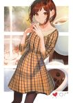 1girl bang_dream! black_legwear brown_eyes brown_hair coffee_beans coffee_cup collarbone cream cup disposable_cup dress fingers_together hazawa_tsugumi looking_at_viewer orange_dress pantyhose plaid plaid_dress poligon_(046) pouring short_hair smile solo
