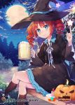 1girl alcohol beer beer_mug bench black_hat black_legwear blue_ribbon breasts cake company_name copyright_name drill_hair food fruit halloween hat hat_ribbon index_finger_raised jack-o'-lantern kneehighs legs_crossed long_sleeves medium_breasts official_art orange_hair plate qurare_magic_library ribbon shoonear short_hair sitting solo star strawberry twin_drills witch_hat