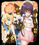2girls :d bangs blend_s blonde_hair blue_dress blue_eyes blue_gloves blunt_bangs blush border breasts brown_hair building choker collarbone cowboy_shot demon_horns demon_tail demon_wings dress evil_smile eyebrows_visible_through_hair finger_to_mouth frilled_sleeves frills gloves hair_between_eyes halloween halo hand_on_own_thigh highres hinata_kaho horns jack-o'-lantern leaning_forward long_hair looking_at_viewer low_twintails medium_breasts multiple_girls open_mouth outside_border pleated_skirt pom_pom_(clothes) saira sakuranomiya_maika shaded_face short_sleeves skirt sleeveless sleeveless_dress small_breasts smile tail thigh-highs twintails v very_long_hair violet_eyes white_wings wings