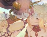 2girls :d bangs berserker_of_black blurry blurry_background blush bouquet closed_eyes closed_mouth depth_of_field detached_collar detached_sleeves dress eyebrows_visible_through_hair eyes_visible_through_hair fate/apocrypha fate_(series) flower green_eyes hair_between_eyes head_wreath headgear horn horns kibadori_rue looking_at_another multiple_girls open_mouth ponytail redhead saber_of_red smile veil