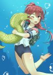 1girl air_bubble backpack bag barefoot blue_sailor_collar blue_swimsuit bubble eel hair_ribbon highres i-168_(kantai_collection) kantai_collection licking long_hair moray_eel pink_neckwear ponytail red_eyes redhead ribbon school_swimsuit school_uniform serafuku soil_chopsticks swimsuit underwater