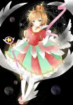 1girl absurdres aquarius bangs blush brown_hair card_captor_sakura choker closed_mouth commentary crown elbow_gloves eyebrows_visible_through_hair frilled_skirt frills full_body gloves green_eyes head_tilt highres holding holding_wand libra looking_at_viewer messy_hair mini_crown multicolored multicolored_clothes multicolored_skirt planet puffy_short_sleeves puffy_sleeves red_neckwear red_skirt scorpio short_hair short_sleeves skirt smile solo sparkle star thigh-highs tsukiyo_(skymint) wand white_gloves white_legwear