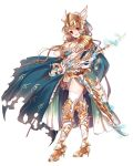 1girl :d armor armored_dress bangs blue_cape blue_gloves blush boots breasts brown_hair cape cleavage electricity faulds fingerless_gloves full_body gloves graves highres holding holding_sword holding_weapon jewelry knee_boots long_hair looking_at_viewer medium_breasts miemia necklace open_mouth red_eyes royal_flash_heroes sheath simple_background smile solo spaulders sword thigh-highs torn_cape visor_(armor) weapon white_background white_legwear