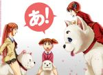 3girls a aho_girl artist_name azumanga_daioh blue_eyes brown_eyes brown_hair commentary dog gintama hanabatake_yoshiko highres inu_(aho_girl) kagura_(gintama) melisaongmiqin mihama_chiyo multiple_girls riding sadaharu school_uniform solid_oval_eyes sweatdrop tadakichi-san tongue tongue_out trait_connection twintails