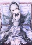 1girl black_wings blush closed_mouth colored_pencil_(medium) darkkanan detached_collar doll_joints dress eyebrows_visible_through_hair frills hairband head_tilt highres lolita_hairband long_hair looking_at_viewer object_hug red_eyes rozen_maiden silver_hair sitting solo stuffed_animal stuffed_bunny stuffed_toy suigintou suitcase tears traditional_media watercolor_(medium) wavy_mouth wings