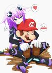 >_< 1boy 1girl absurdres blue_eyes blush braid breasts brown_footwear brown_hair choujigen_game_neptune crossover cundodeviant ear_blush facial_hair gloves hair_between_eyes hair_flaps hair_ornament hat heart hetero highres hug hug_from_behind indian_style leotard long_hair mario mario_(series) mustache neptune_(choujigen_game_neptune) neptune_(series) o_o overalls purple_hair purple_heart red_hat red_shirt shirt signature simple_background sitting sitting_on_lap sitting_on_person smile spoken_heart super_mario_bros. symbol-shaped_pupils thigh-highs tied_hair tsurime twin_braids very_long_hair white_gloves