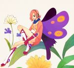 1girl beige_background boots breasts butterfly_wings center_opening cleavage flower gloves hair_over_one_eye headphones leaf one_piece pink_hair simple_background sitting solo vinsmoke_reiju violet_eyes wings