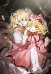 2girls arm_grab blonde_hair blurry blush bow covering_another's_eye crying crying_with_eyes_open curly_hair depth_of_field doll_joints dress eyebrows_visible_through_hair eyepatch flower food fruit hair_between_eyes hair_bow hair_flower hair_ornament highres hina_ichigo kirakishou long_hair looking_at_another mp_(h_mirus) multiple_girls parted_lips pink_bow plant red_ribbon ribbon rose rozen_maiden shinku smile strawberry suigintou tears two_side_up very_long_hair vines white_dress white_rose yellow_eyes