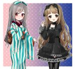 2girls arm_up bangs black_dress blush bow brown_eyes brown_hair choker cosplay costume_switch cowboy_shot dress embarrassed eyebrows_visible_through_hair floral_print frame frilled_dress frilled_sleeves frills furisode gothic_lolita gradient gradient_background grey_hair hair_bow hair_ornament idolmaster idolmaster_cinderella_girls japanese_clothes kanzaki_ranko kimono lolita_fashion long_hair long_sleeves looking_at_viewer multiple_girls obi oonishi_nishio open_mouth polka_dot polka_dot_background red_eyes ribbon sash smile standing striped tareme translation_request vertical-striped_kimono vertical_stripes very_long_hair wavy_hair wide_sleeves yorita_yoshino