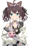 1girl ahoge animal_ears aqua_eyes black_choker black_ribbon blush brown_hair cat_ears choker closed_mouth collared_shirt commentary eyebrows_visible_through_hair eyelashes flat_chest grey_shirt hair_between_eyes hair_ribbon heart heart_choker highres holding holding_stuffed_toy hololive jacket kemonomimi_mode lace_trim lips long_sleeves looking_at_viewer medium_hair nail_polish natsuiro_matsuri off_shoulder official_alternate_costume pink_nails plaid ribbon shirt signature simple_background sleeveless sleeveless_shirt smile solo stuffed_animal stuffed_bunny stuffed_toy takenoko_no_you teardrop twintails two-sided_fabric two-sided_jacket upper_body v v_over_mouth virtual_youtuber watch watch wavy_hair white_background white_jacket wing_collar