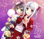 2girls alternate_hairstyle bankoku_ayuya cotton_candy fish goldfish grey_hair japanese_clothes kaga_(kantai_collection) kantai_collection kimono mask multiple_girls shoukaku_(kantai_collection) silver_hair twintails water_balloon yellow_eyes yukata zuikaku_(kantai_collection)