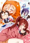1boy 4girls black_hair blonde_hair blue_hair brown_hair chibi doma_taihei doma_umaru ebina_nana glasses highres himouto!_umaru-chan hood motoba_kirie multiple_girls nekoronbusu purple_hair tachibana_sylphynford tagme