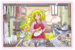 >_< 2girls :d animal_ears apron blonde_hair blush bottle bowl chair chopsticks cup dishes doitsuken dress drinking_glass eyebrows_visible_through_hair facing_viewer fang faucet fox_ears fox_tail frying_pan green_dress heart highres house indoors kitchen knife ladle looking_at_another mother_and_daughter multiple_girls open_mouth original pink_eyes plant potted_plant scissors short_hair sink sleeves_rolled_up smile sponge standing table tail teapot washing_dishes
