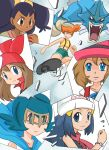 bandanna big_hair blonde_hair blue_eyes blue_hair brown_eyes brown_hair dark_skin gyarados gym_leader hairband haruka_(pokemon) hat hikari_(pokemon) iris_(pokemon) kamen_rider kamen_rider_ryuki_(series) kasumi_(pokemon) long_hair multiple_girls orange_hair poke_ball pokemon pokemon_(anime) pokemon_(creature) purple_hair serena_(pokemon) shilfy_yo short_hair side_ponytail smile suiren_(pokemon) trial_captain very_long_hair