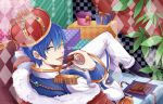 1boy ;) blue_eyes blue_hair boots cape checkered chocolate crown epaulettes fur_trim gift kaito legs_crossed lips looking_at_viewer looking_back male_focus one_eye_closed pants plant sitting smile solo toro_(tsunatan02) vocaloid white_pants